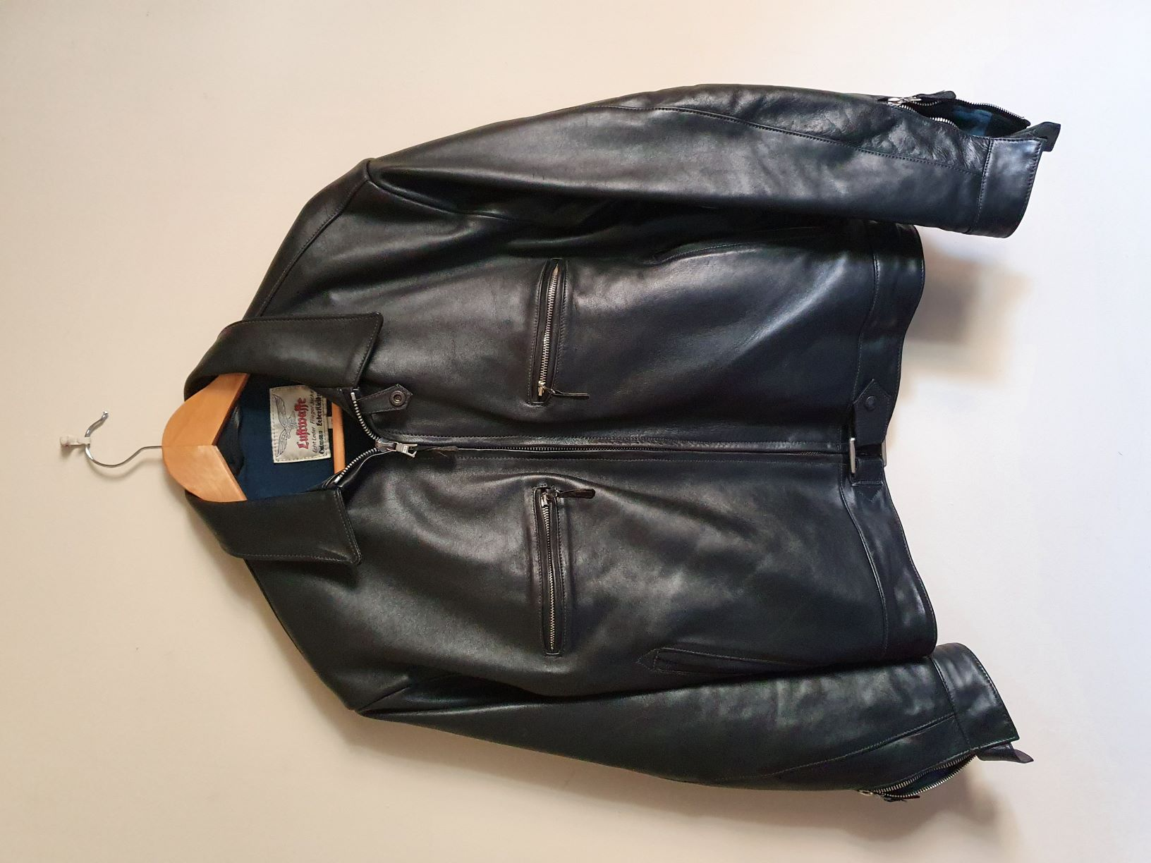 Eastman Ostmann WWII German Flying Jacket-Black Leather Size 40  Image