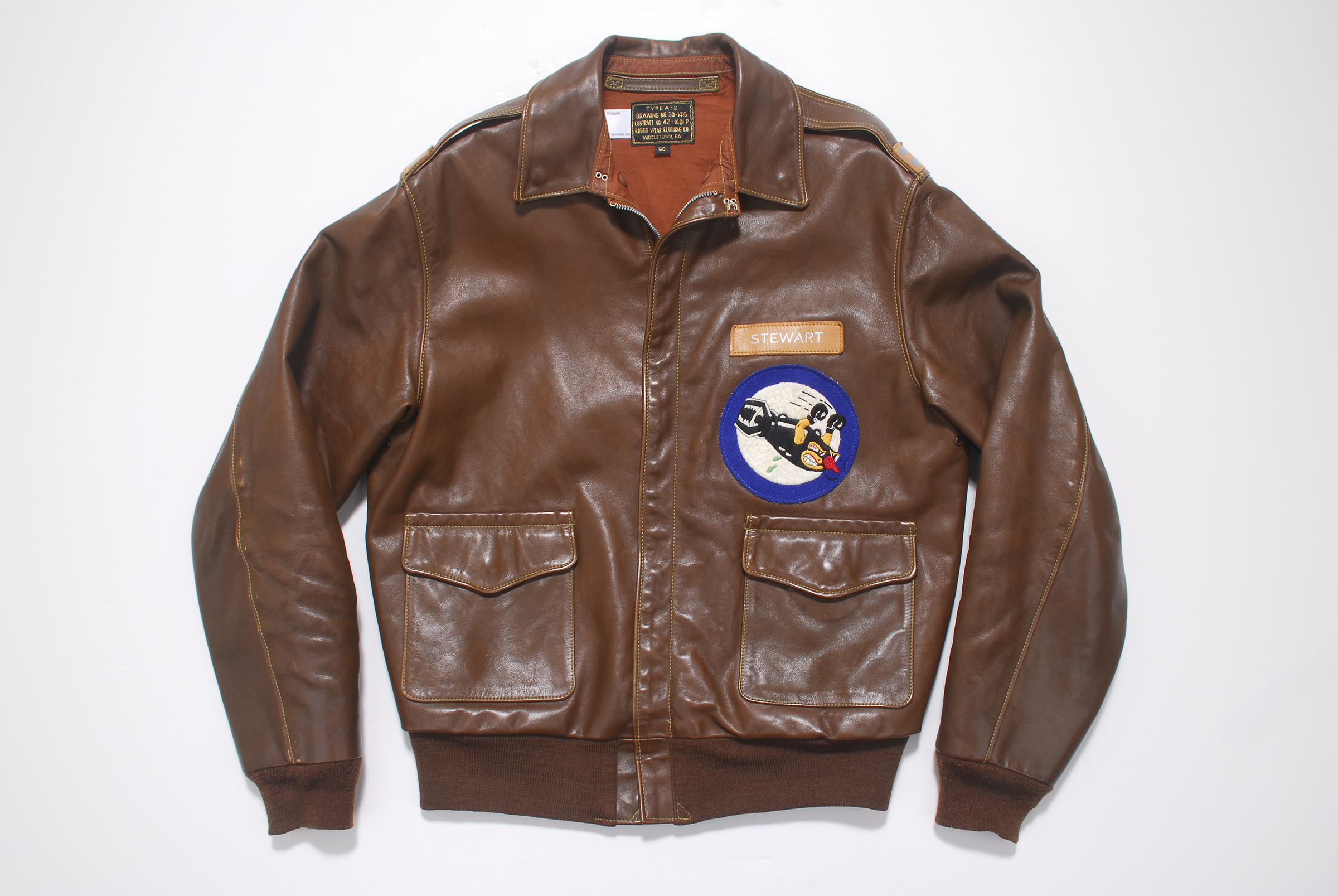 Eastman A-2 Flying Jacket Rough Wear Clothing Co. 1401-P 40R Jimmy Stewart Tribute Image